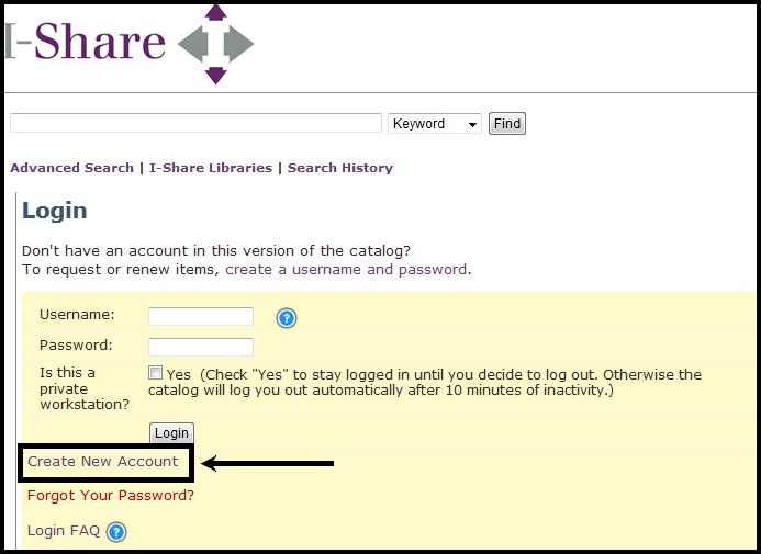 VuFind Create New Account link is highlighted on the Login page.