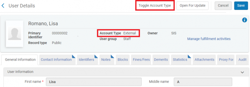 "Screenshot shows example patron Lisa Romano's user record retrieved, with the Account Type indicator highlighted (it currently says ""Account Type: External""), and the ""Toggle Account Type"" button also highlighted."