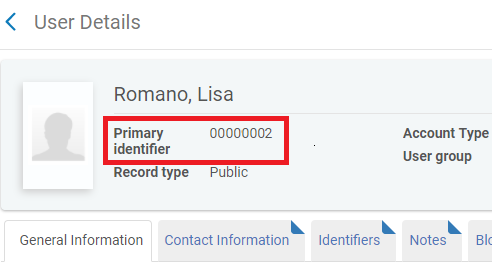 Screenshot of example user Lisa Romano's account, with the primary identifier highlighted.