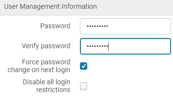 Screenshot shows the User Management Information section of the user's record, which contains the Password, Verity Password, Force password change on next login, and Disable all login restrictions options mentioned in the bullet points below.