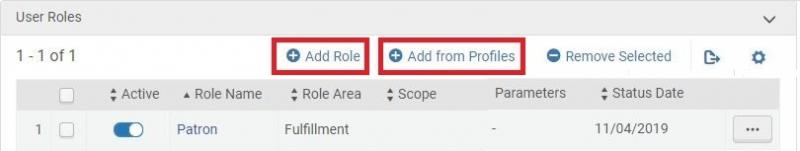 "Screenshot shows the user's ""User Roles"" section, with the ""Add Role"" and 'Add from Profiles"" buttons highlighted."