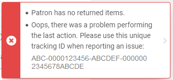 """Screenshot shows one of the error messages that staff receive when selecting the """"Done"""" button after checking out I-Share/AFN materials to patrons."""