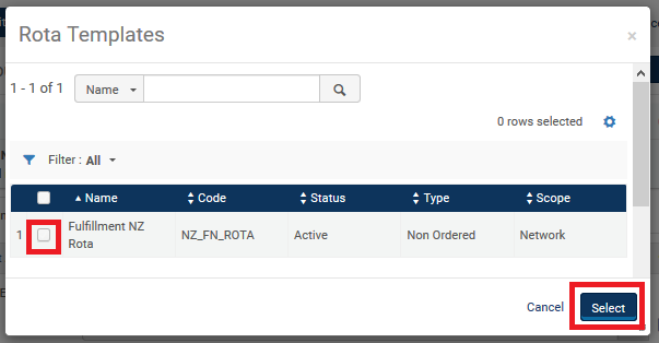 "Screenshot shows the ""Rota Templates"" screen, with the Fulfillment NZ Rota highlighted."