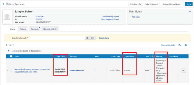 Screenshot shows a sample patron record on the Loan tab, with the checked out I-Share item displayed. The Due Date, Loan Type of Normal, and the item's institution detailsa are highlighted.