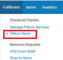 Screenshot shows the Fulfillment menu, with the Return Items option highlighted.