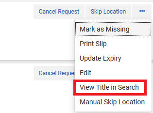 "Screenshot shows the ""View Title in Search"" option in the ellipse presented in the Pick From Shelf list."