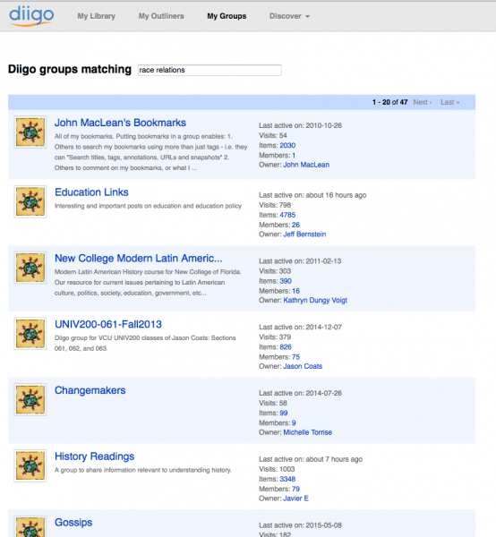 Screenshot of Diigo groups